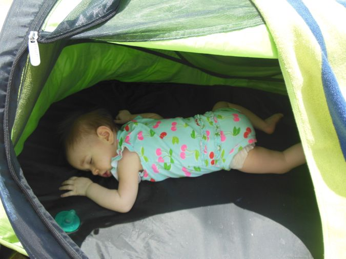 The Baby Slept For A Bit In Her Tent