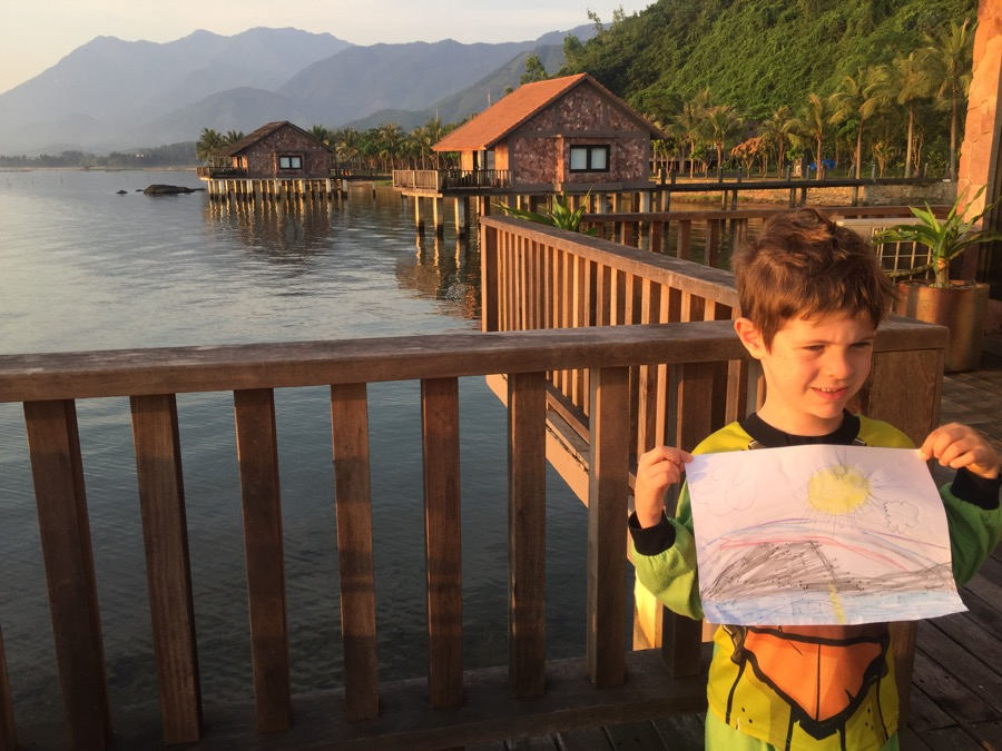 Looking Over The Lagoon With His Picture Of The Sunrise
